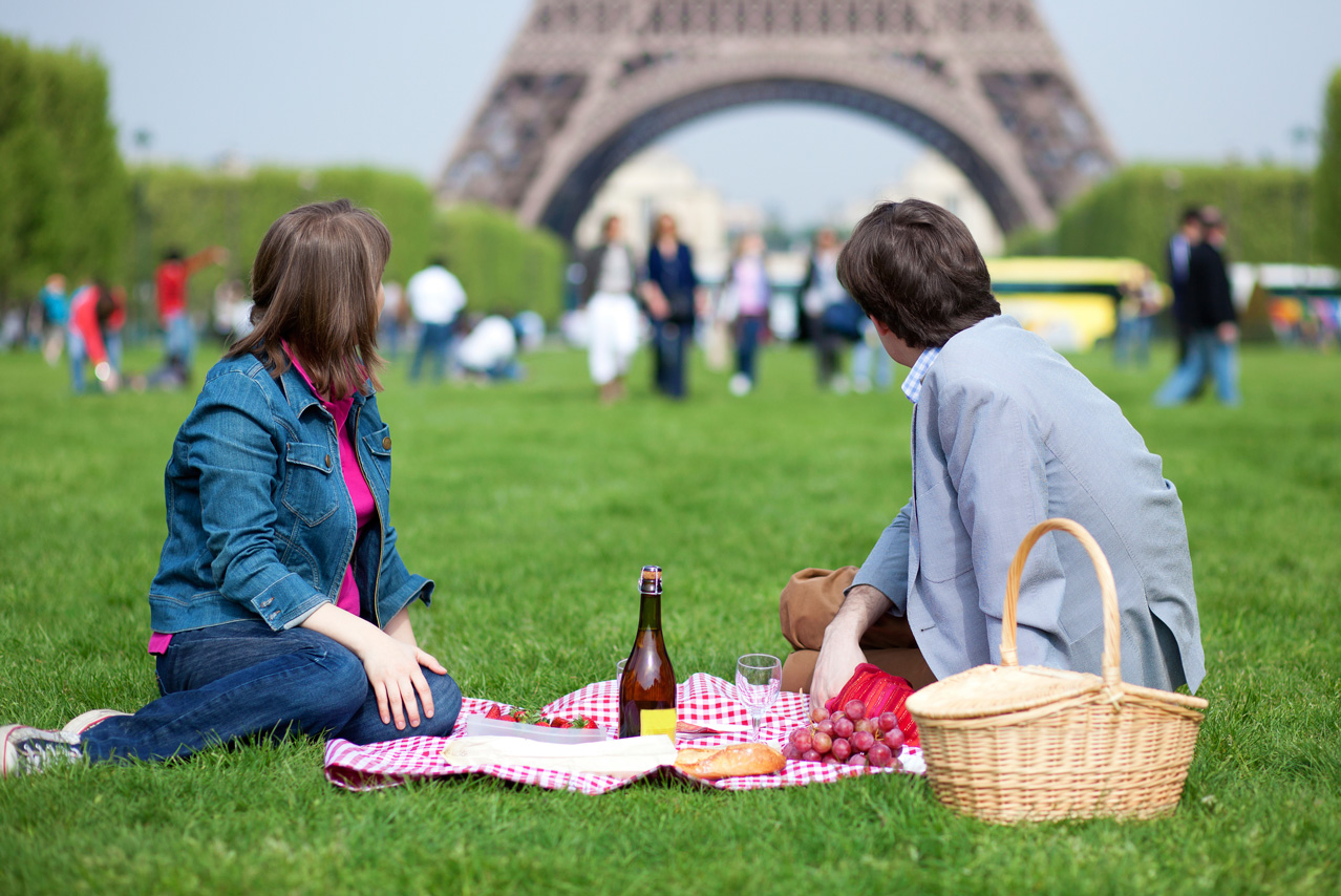 Picnic in Park, Eiffel Tower, Paris, France