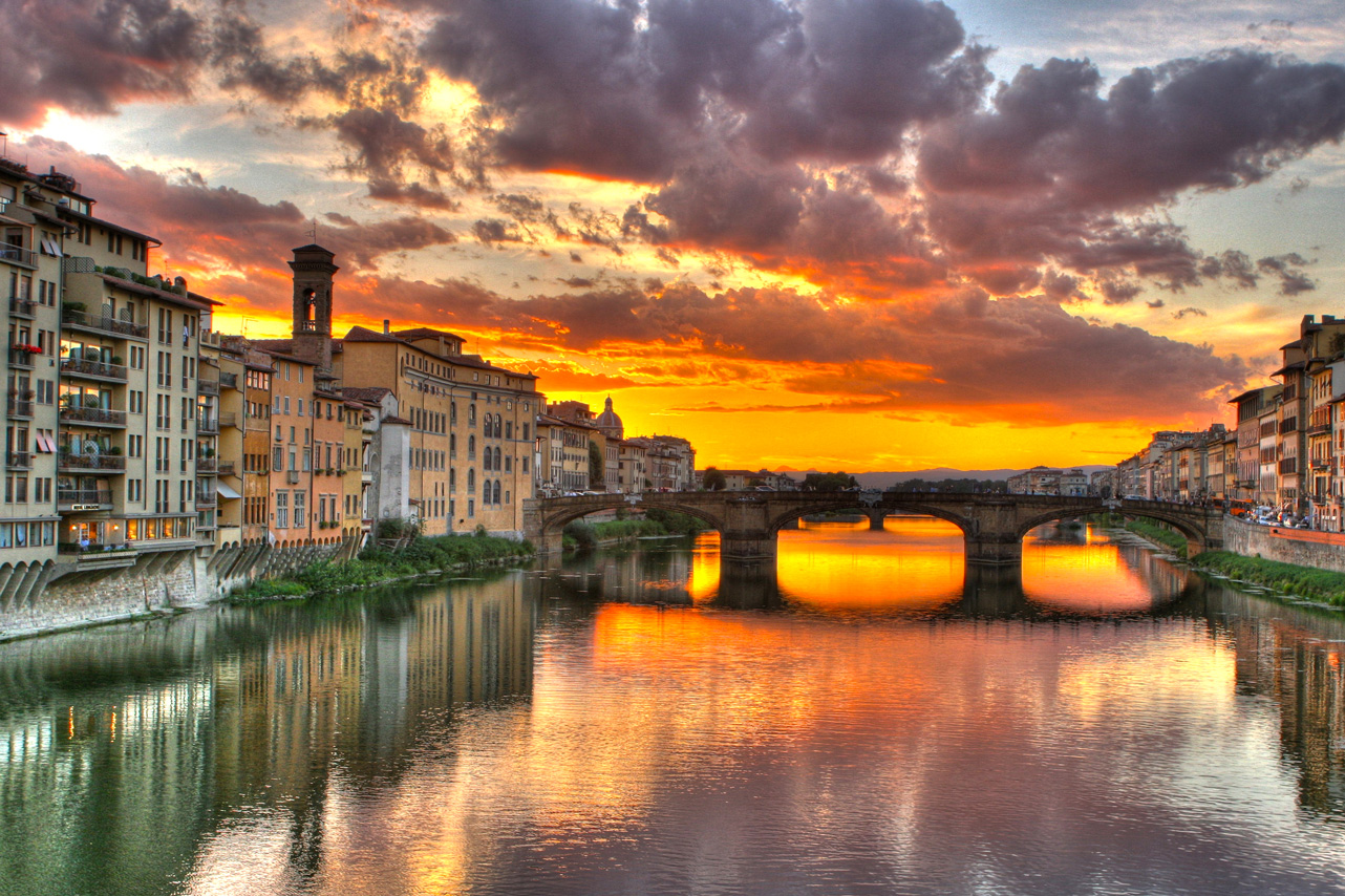 Watch the sunset in Florence, Italy.
