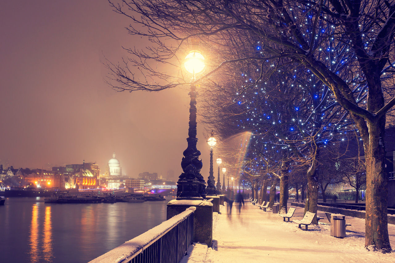 Festive scenes in London, England.